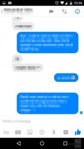 Messenger messaggio consegnato