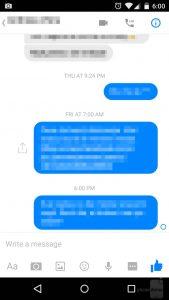 Messenger messaggio in elaborazione
