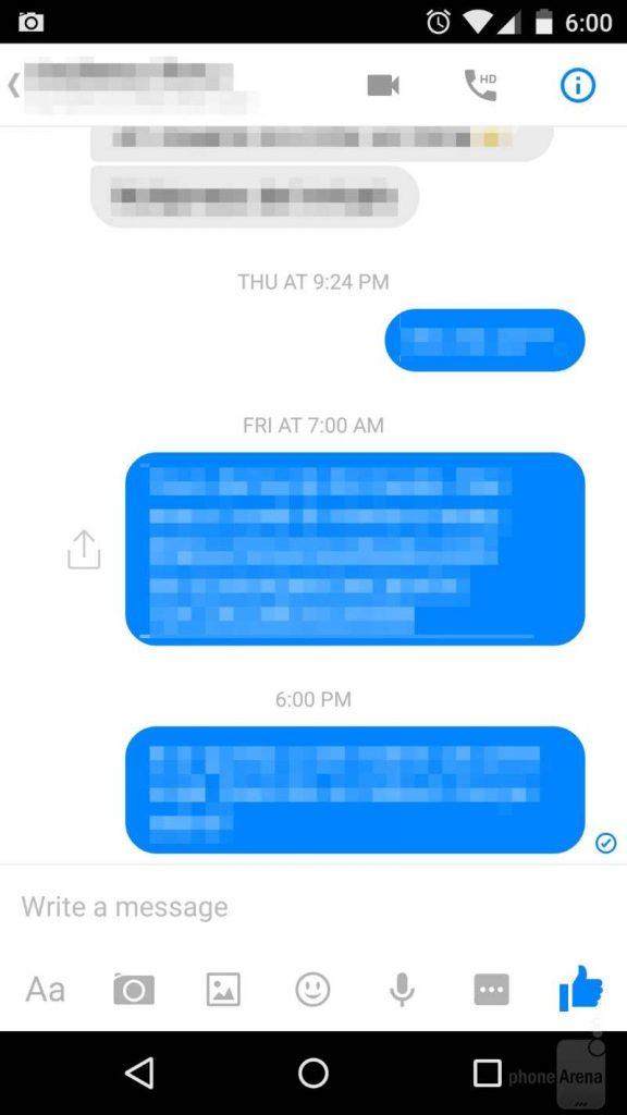 Messenger messaggio inviato