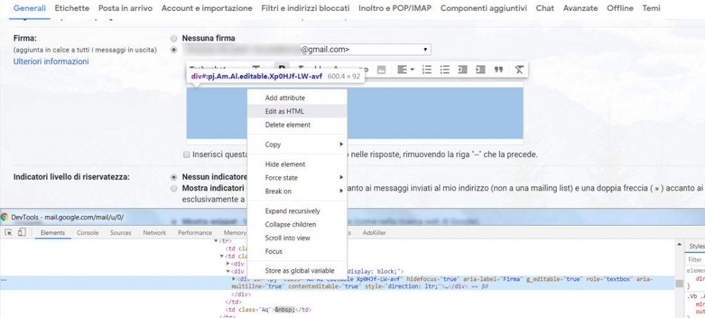 firma html gmail